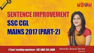 Sentence Improvement SSC CGL Mains 2017 (Part-2) by Manisha Bansal Ma'am