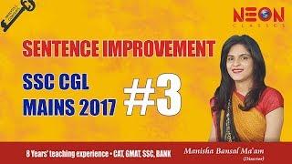 Sentence Improvement SSC CGL Mains 2017 (Part-3) by Manisha Bansal Ma'am